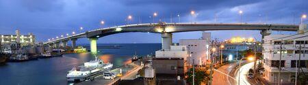 okinawa: Tomari Bridge in Naha, Okinawa, Japan. Stock Photo