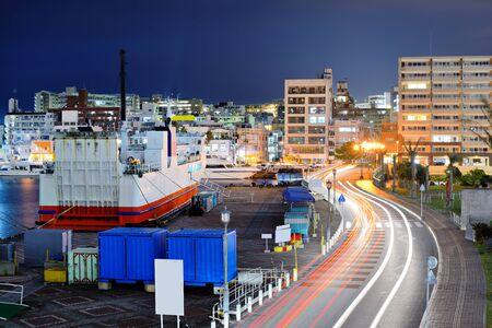 okinawa: Naha, Okinawa, Japan port and cityscape. Stock Photo