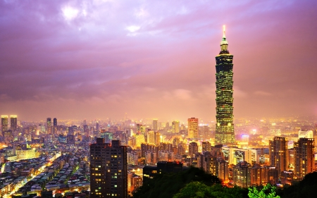 taipei: Taiwan, Taipei cityscape at the Xinyi District viewed from Elephant Mountain. Editorial