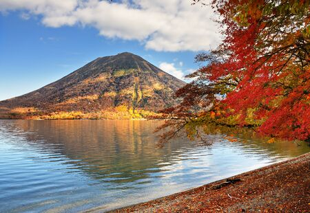 Mountains and Lake Chuzenji in Nikko, Japan. photo