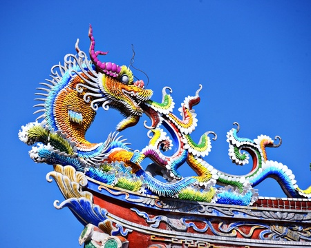 buddhist temple roof: Ornate Chinese Temple detail in the sky.