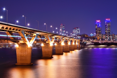 river: Han River and Bridge in Seoul, South Korea. Stock Photo