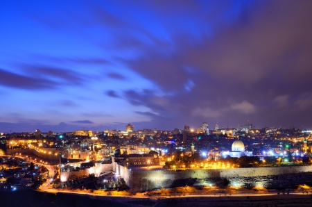 palestinian: Skyline of the Old City and Temple Mount in Jerusalem, Israel.