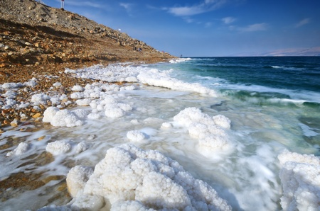 Dead Sea, Israel salt formations. photo