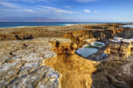 Sinkholes near the Dead Sea in Ein Gedi, Israel. Imagens