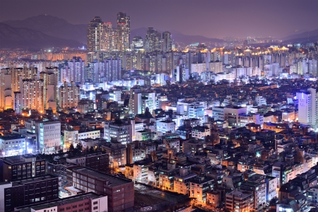 high rises: Residential high rises in Gangnam District, Seoul, South Korea skyline at night.