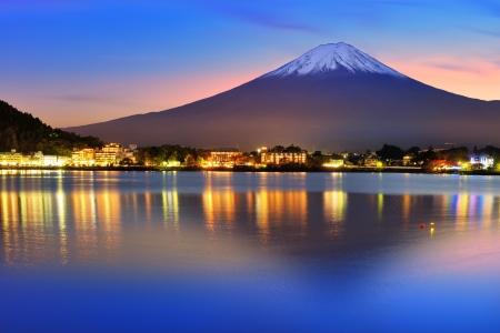 fuji san: Mt. Fuji with twilight colors in japan.