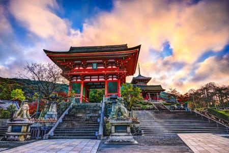 Kiyomizu-dera Temple Gate in Kyoto, Japan in the morning.