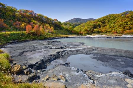 Natural springs of Oyunuma Lake in Hell Valley, Noboribetsu, Hokkaido, Japan. photo