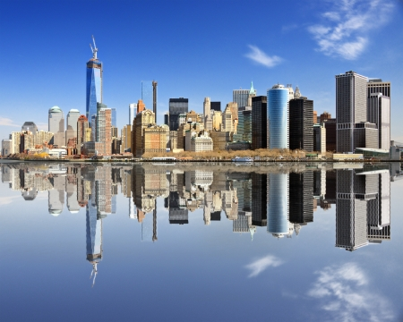 New York City at Lower Manhattan with reflections.