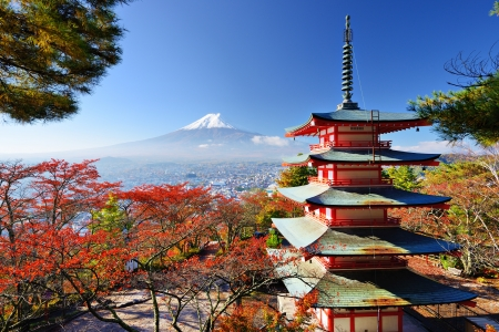 koyo: Mt. Fuji with fall colors in japan.