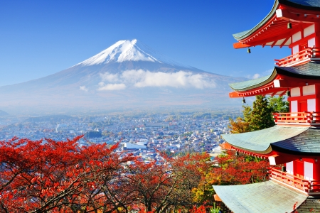 natural landmark: Mt. Fuji with fall colors in japan.
