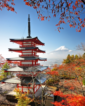 buddhist temple: Mt. Fuji with fall colors in japan.