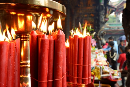 Candles at Longshan Temple in Taipei, Taiwan. Stock Photo