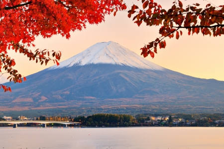 Mt. Fuji with fall colors in japan in the late afternoon. photo