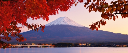 Mt. Fuji with fall colors in japan. photo