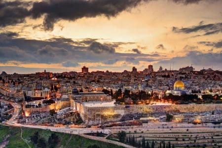 Skyline della Città Vecchia e il Monte del Tempio a Gerusalemme, Israele. Archivio Fotografico - 21373568
