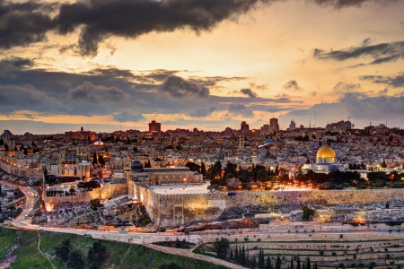 palestine: Skyline of the Old City and Temple Mount in Jerusalem, Israel.