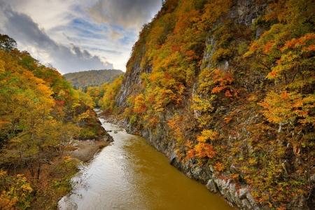 Toyohira River flows in Jozankei, Hokkaido, Japan. photo