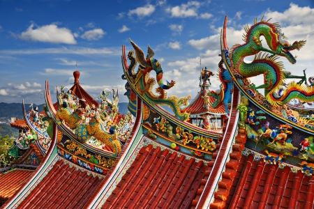Ornate Chinese Temple detail in the sky. photo