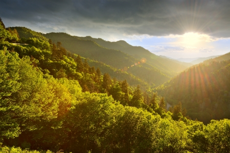 smokies: Sunset at the Newfound Gap in the Great Smoky Mountains. Stock Photo