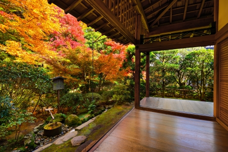 Fall foliage at Eikando Temple in Kyoto, Japan. Editorial