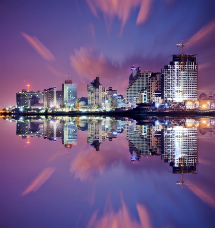 tel: Tel Aviv, Israel high rise resort skyline.