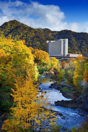 Toyohira River flows in Jozankei, Hokkaido, Japan.