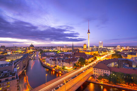 east germany: Berlin, Germany viewed from above the Spree River.