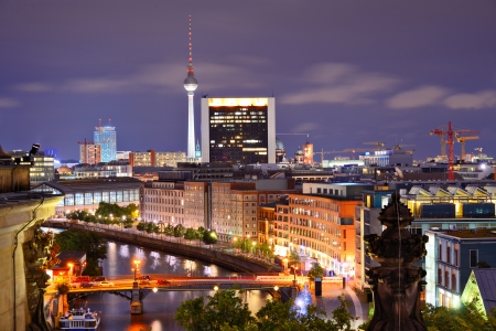 Berlin, Germany viewed from above the Spree River.
