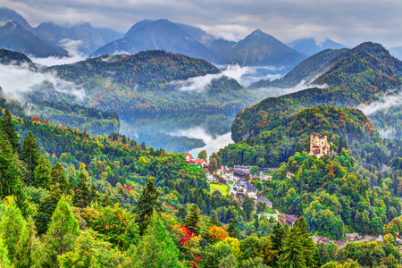 Misty day in the Bavarian Alps near Fussen, Germany.