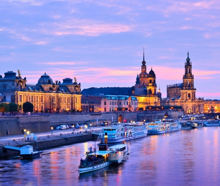 Dresden, Germany cityscape over the Elbe River. photo
