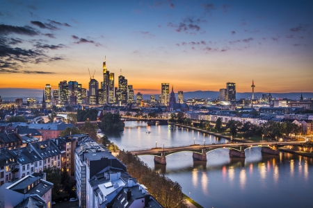 waterways: Skyline of Frankfurt, Germany, the financial center of the country.