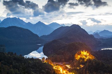schwangau: Hohenschangau Castle in the Bavarian Alps of Germany.