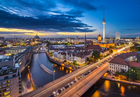 east berlin: Berlin, Germany viewed from above the Spree River.