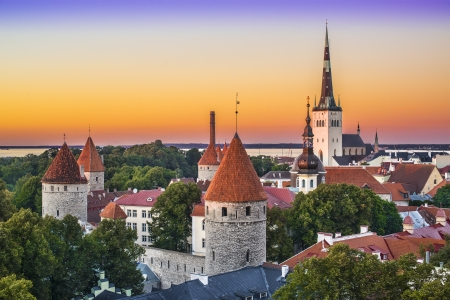 Skyline of Tallinn, Estonia after sunset. photo