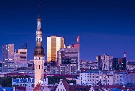 Skyline of Tallinn, Estonia at blue hour. photo
