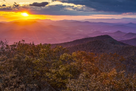 newfound gap: Blue Ridge Mountains at sunset in north Georgia, USA.