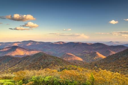 blue ridge: Blue Ridge Mountains at dusk in north Georgia, USA. Stock Photo