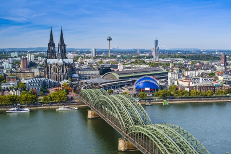 waterways: Cologne, Germany aerial view over the Rhine River.