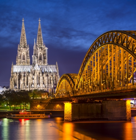 Cologne, Germany aerial view over the Rhine River.