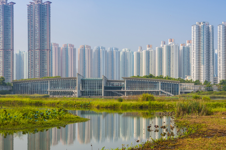 Hong Kong residential high rise cityscape viewed from Wetlands Park. photo
