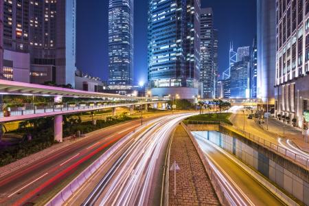 kong: Hong Kong Island financial district cityscape.