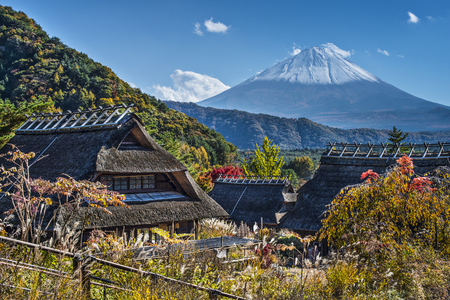 Mt Fuji viewed from Iyashinofurusato near Lake Saiko in Japan.