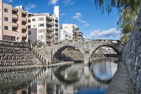 hashi: Nagasaki, Japan at Spectacles Megane Bridge. Stock Photo