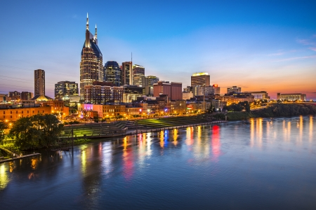 skyline at sunrise: Skyline of downtown Nashville, Tennessee. Stock Photo