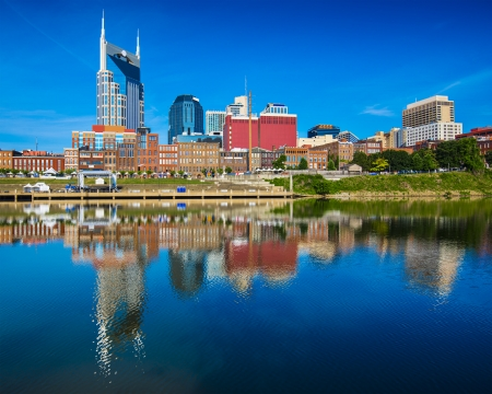 Nashville, Tennessee downtown skyline at Cumberland River.