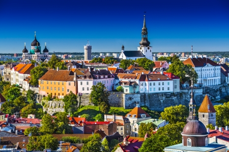 turrets: Skyline of Tallinn, Estonia at the old city. Stock Photo
