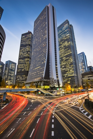tokyo city: Tokyo, Japan cityscape at the Shinjuku financial district. Stock Photo