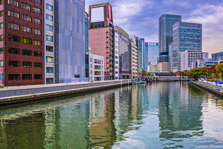 buidings: River view in Osaka, Japan.